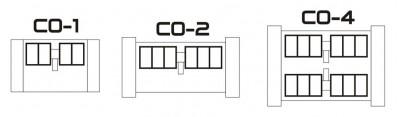 Схемы построения скиммеров СО (СО-1 - условно один рабочий вал, СО-2 - два рабочих вала, СО-4 - 4 рабочих вала)