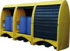 Бокс защитный мобильный для поддона-контейнера на 2 бочки, емкость 250 л